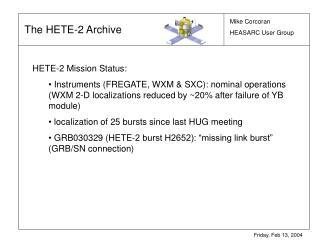 HETE-2 Mission Status: