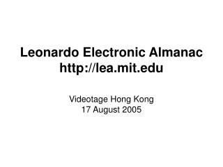 Leonardo Electronic Almanac lea.mit