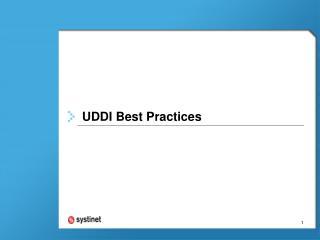 UDDI Best Practices