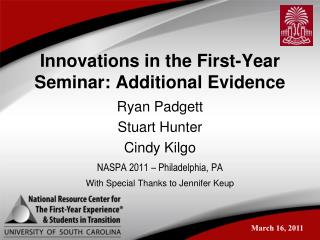 Innovations in the First-Year Seminar: Additional Evidence