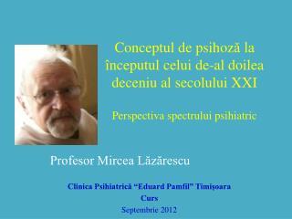 """Profesor Mircea Lăzărescu Clinica Psihiatrică """"Eduard Pamfil"""" Timişoara Curs Septembrie 2012"""