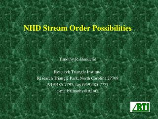 NHD Stream Order Possibilities