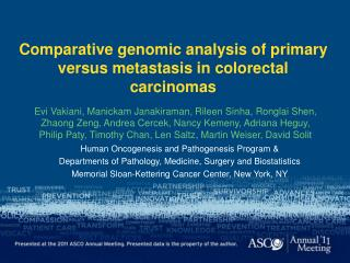 Comparative genomic analysis of primary versus metastasis in colorectal carcinomas