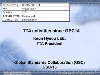 TTA activities since GSC14