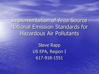 Implementation of Area Source National Emission Standards for Hazardous Air Pollutants