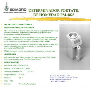 DETERMINADOR PORTÁTIL DE HOMEDAD PM-4025