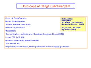Horoscope of Ranga Subramanyam
