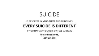 Child Deaths: Suicide  Risk Taking