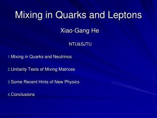 Mixing in Quarks and Leptons