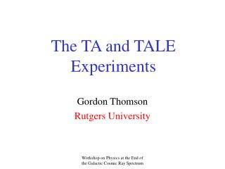 The TA and TALE Experiments