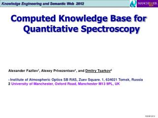 Computed Knowledge Base for Quantitative Spectroscopy
