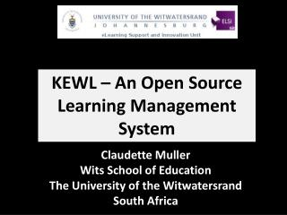 KEWL – An Open Source Learning Management System