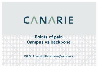 Points of pain  Campus vs backbone