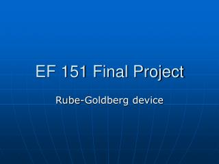 EF 151 Final Project
