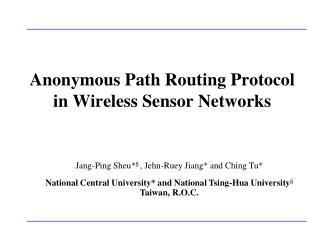 Anonymous Path Routing Protocol  in Wireless Sensor Networks