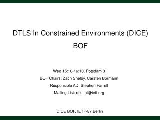 DICE BOF, IETF-87 Berlin