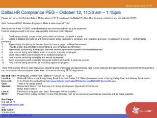 DallasHR Compliance PEG – October 12, 11:30 am – 1:15pm