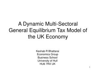 A Dynamic Multi-Sectoral General Equilibrium Tax Model of the UK Economy