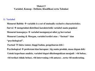 Materi 5 Variabel, Konsep - Definisi, Klasifikasi serta Tabulasi