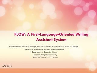 FLOW: A First-Language-Oriented Writing Assistant System