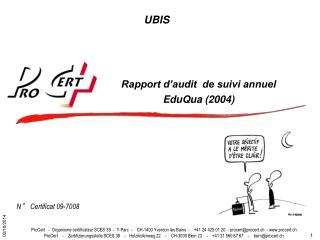 Rapport d�audit  de suivi annuel EduQua (2004)