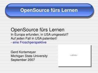 OpenSource fürs Lernen
