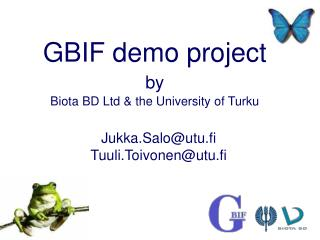 GBIF demo project by Biota BD Ltd & the University of Turku