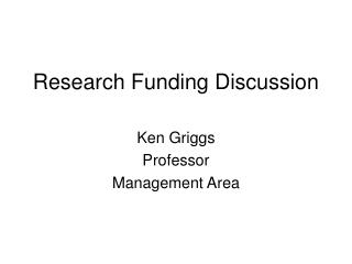 Research Funding Discussion