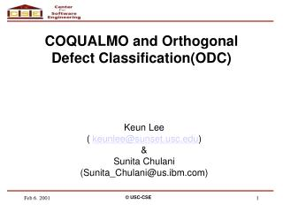 COQUALMO and Orthogonal Defect Classification(ODC)