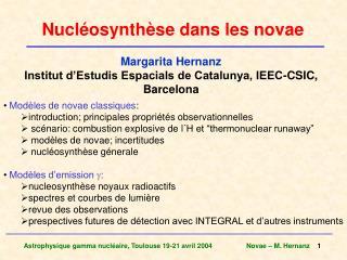 Nucl�osynth�se dans les novae
