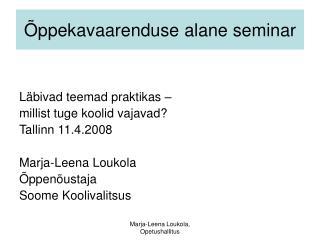 Õppekavaarenduse alane seminar
