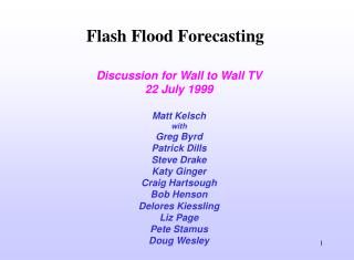 Flash Flood Forecasting