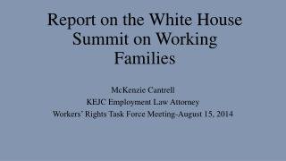 Report on the White House Summit on Working Families
