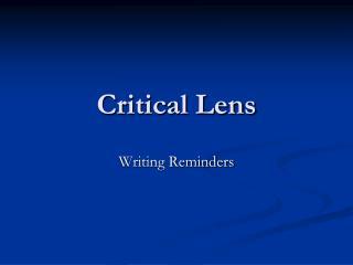 Critical Lens