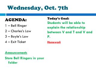 Wednesday, Oct. 7th