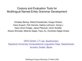 Corpora and Evaluation Tools for Multilingual Named Entity Grammar Development