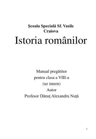 Scoala Speciala Sf. Vasile Craiova Istoria rom nilor