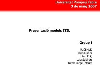 Presentaci� m�duls ITIL