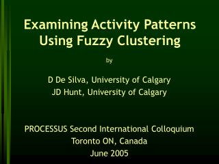 Examining Activity Patterns Using Fuzzy Clustering