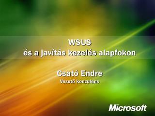 WSUS és a javítás kezelés  alapfokon Csató Endre Vezető konzulens