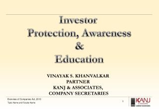 Investor  Protection , Awareness & Education