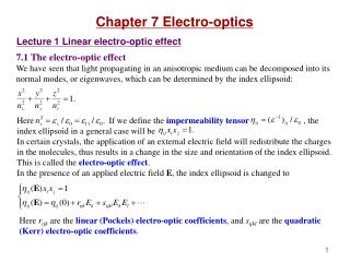 Chapter 7 Electro-optics Lecture 1 Linear electro-optic effect