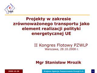 Projekty w zakresie zrównoważonego transportu jako element realizacji polityki energetycznej UE