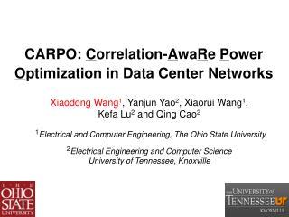CARPO:  C orrelation- A wa R e  P ower  O ptimization in Data Center Networks