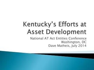 Kentucky's Efforts at Asset Development