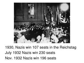 1930, Nazis win 107 seats in the Reichstag July 1932 Nazis win 230 seats