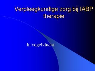 Verpleegkundige zorg bij IABP therapie