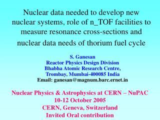 Nuclear Physics & Astrophysics at CERN � NuPAC 10-12 October 2005 CERN, Geneva, Switzerland
