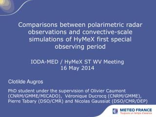 IODA-MED / HyMeX ST WV Meeting 16 May 2014
