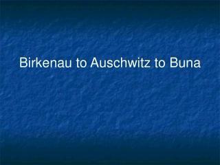 Birkenau to Auschwitz to Buna